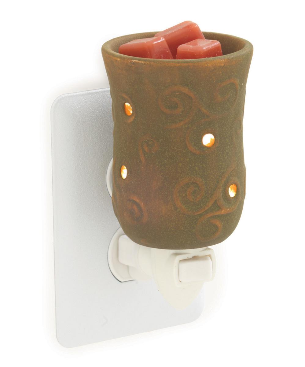 Plug In Fragrance Warmer Round Brown Embossed Sierra