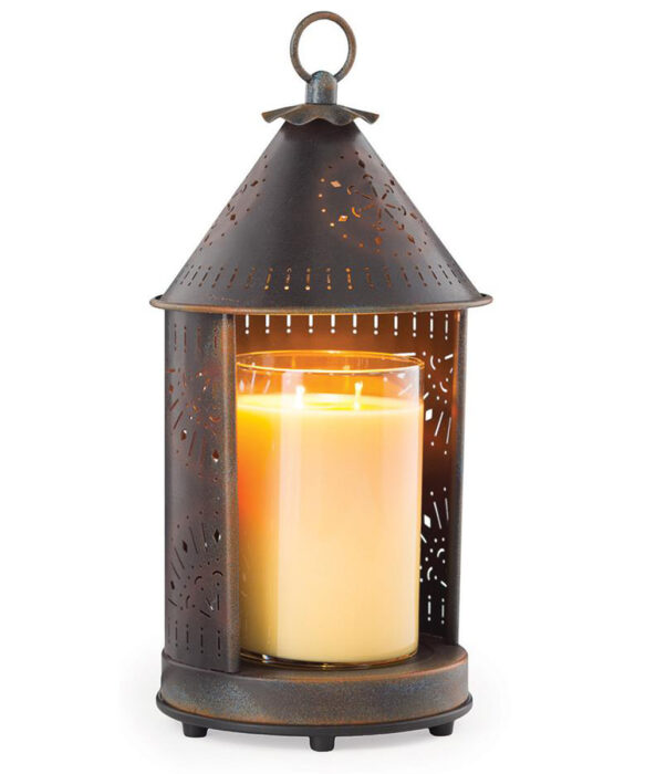 Top down candle warmer lantern wtih tin punched design