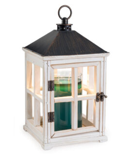 Top down wooden candle warmer lantern in weathered white