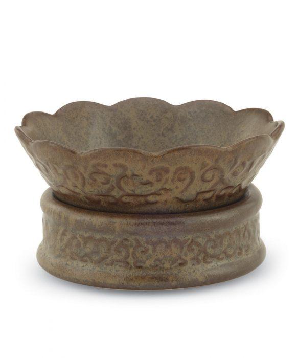 Ceramic Candle Warmer Dish - Rustic Brown
