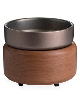 Candle warmer plate with dish pewter and walnut